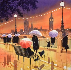 Embankment Conversation London by Peter J Rodgers - Original Painting on Paper sized 20x20 inches. Available from Whitewall Galleries